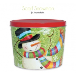Scarf Snowman / 2 Gallon Tin